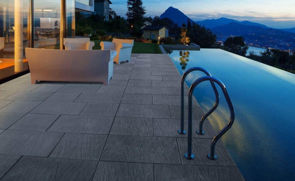 pietra di torino lastra in calcestruzzo pavimento galeggiante Pavimento piscina notte tramonto